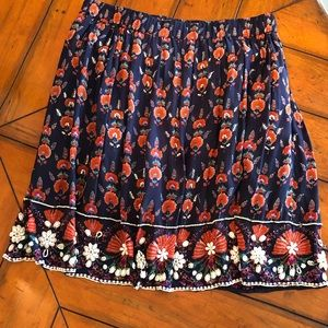 Anthropologie | Mauve Beaded Boho Navy Skirt